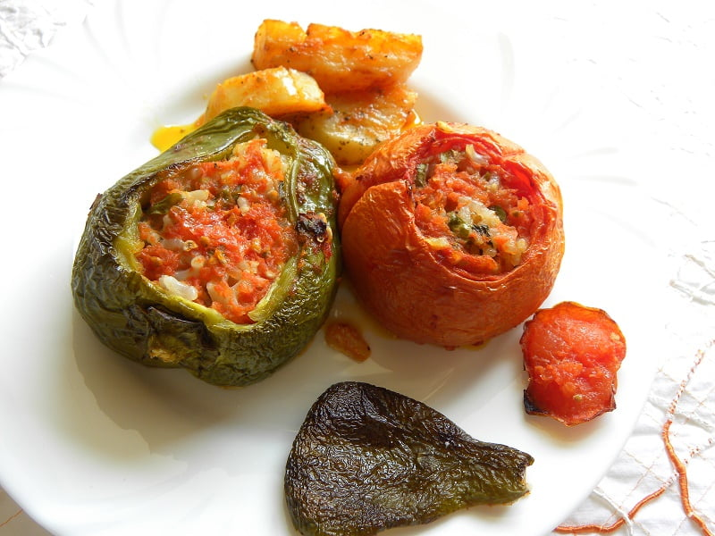 Stuffed gemista with rice and potatoes image
