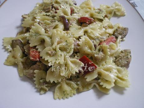 Lake Vouliagmeni and Farfalle with aubergine, peppers and purslane pesto