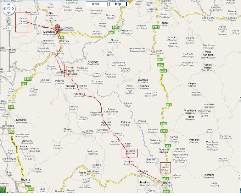 route via Taygettus