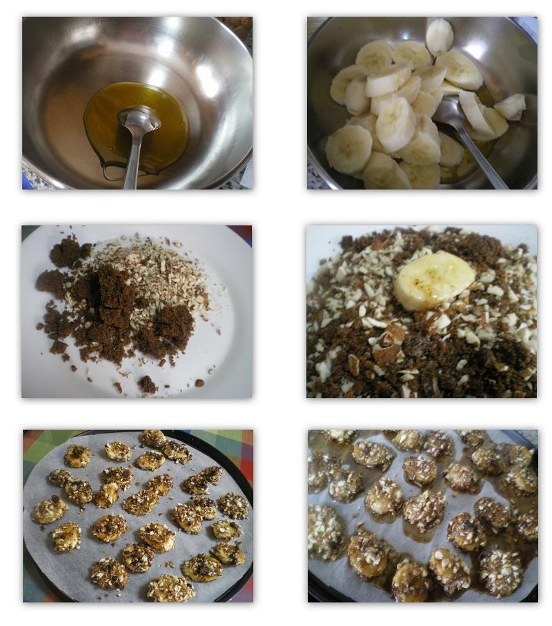 Collage caramelized bananas photo