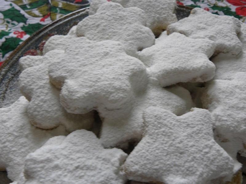 Kourabiedes closeup with icing sugar image