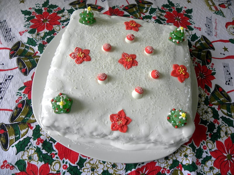 Non Traditional Christmas Cake with edible decorations image