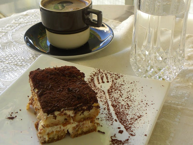 Tiramisu with coffee photograph