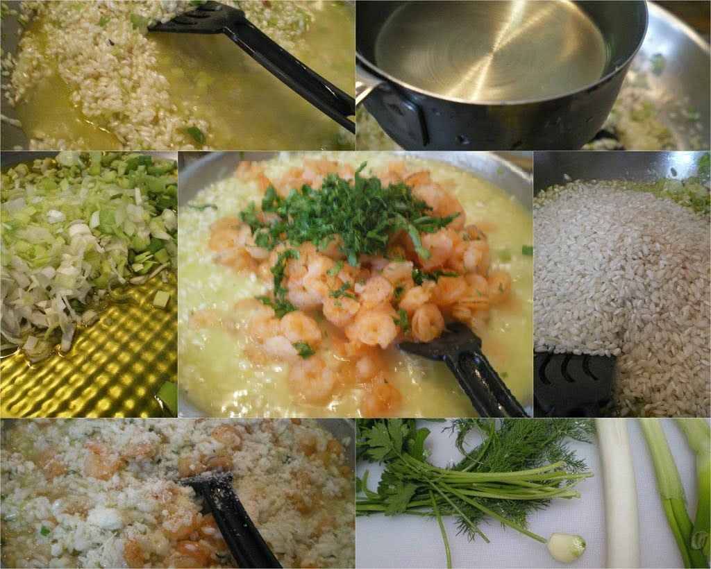 Collage shrimp and herb risotto picture