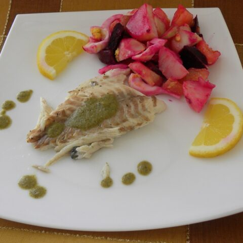 Tsipoura with beetroot salad image
