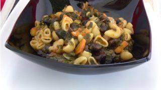 Gigantes me spanaki kai Makaronaki (Black giant beans with spinach and pasta)