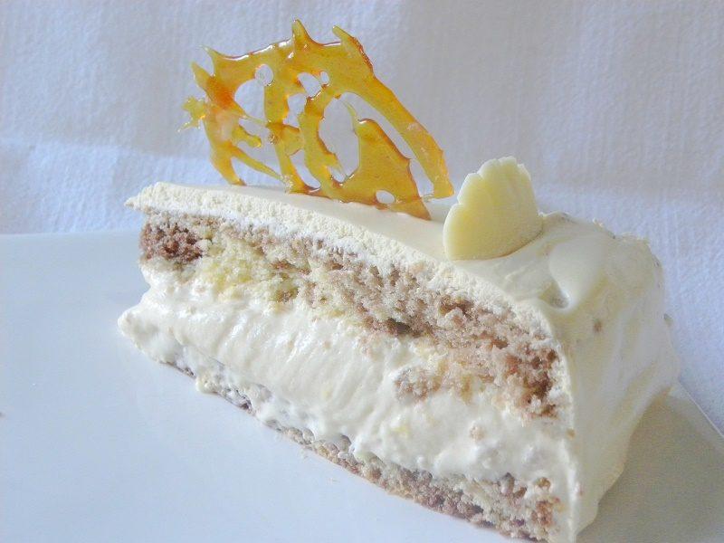 Caramel cake cut image