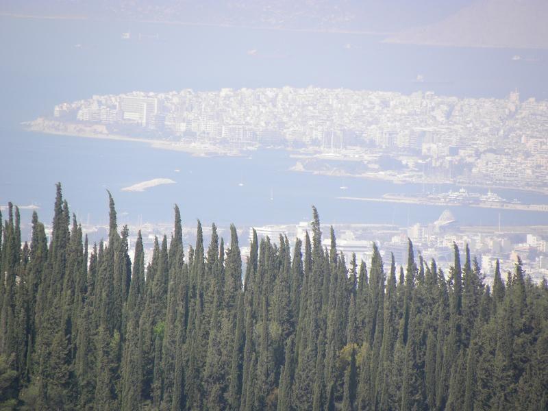 Athens view up to Piraeus closeup