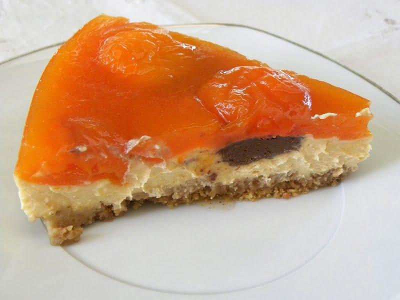 Apricot cheesecake cut image