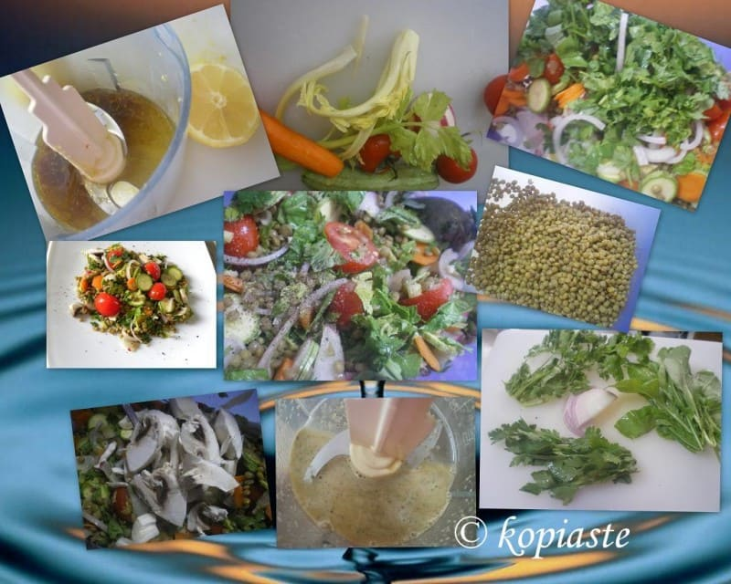 collage lentil salad