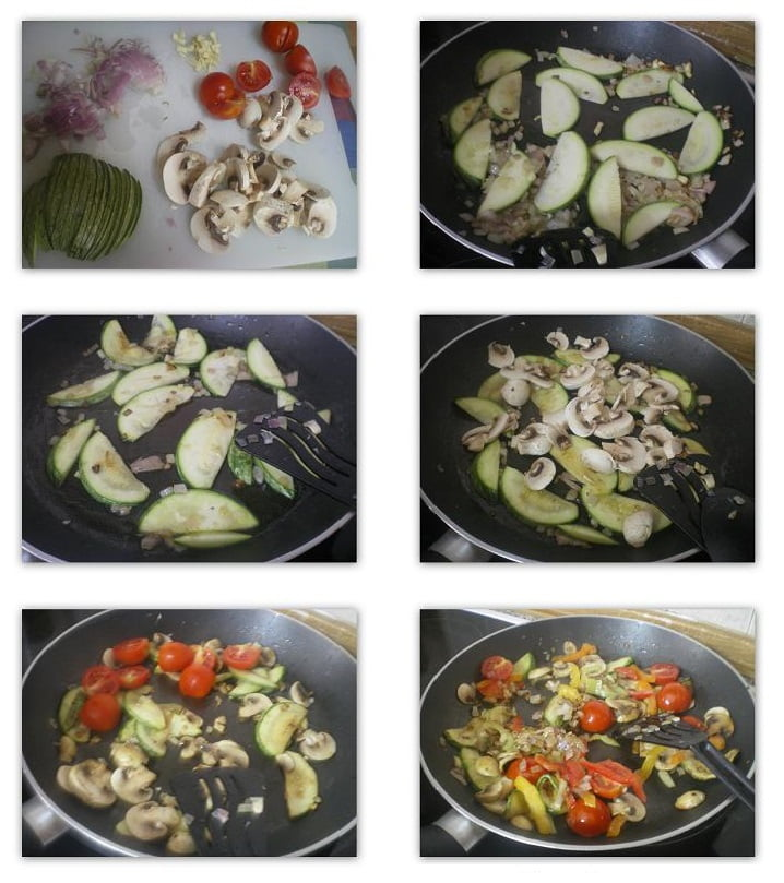 Collage Preparation of  Farfalle with vegetables image