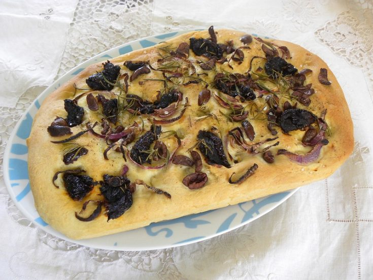 Lagana with Garlicky Olives, Sun-dried Tomatoes and Rosemary