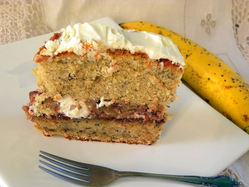 Banana bread with cream cheese image