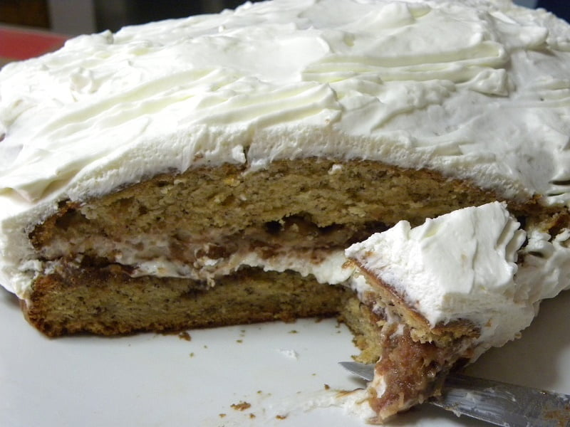 Banana cake with Cream cheese frosting image