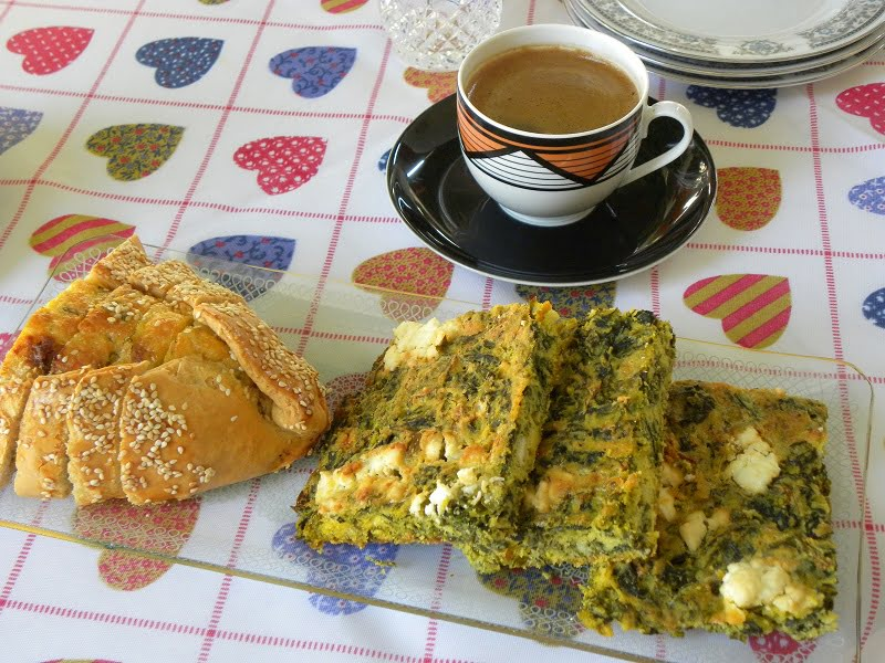 Coffee and Flaouna Tyropita and Spanakopita Plastos image