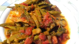 Okra with pollock fillets