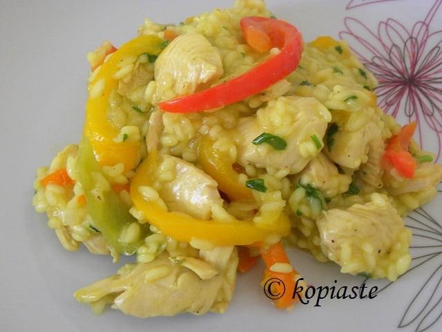 Risotto with Chicken, Saffron & Roasted Garlic