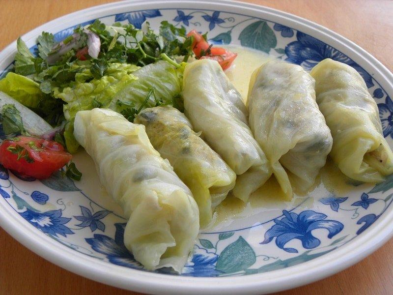 Lahanodolmades with salad image