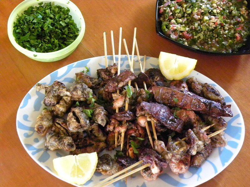 Tourkakia liver skewers served image