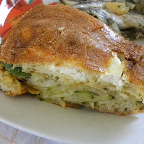 Greek Savoury Olive Oil Zucchini Cake with Kasseri and Feta
