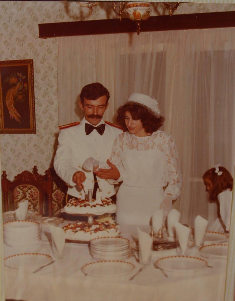 Demetris and I cutting our wedding cake image
