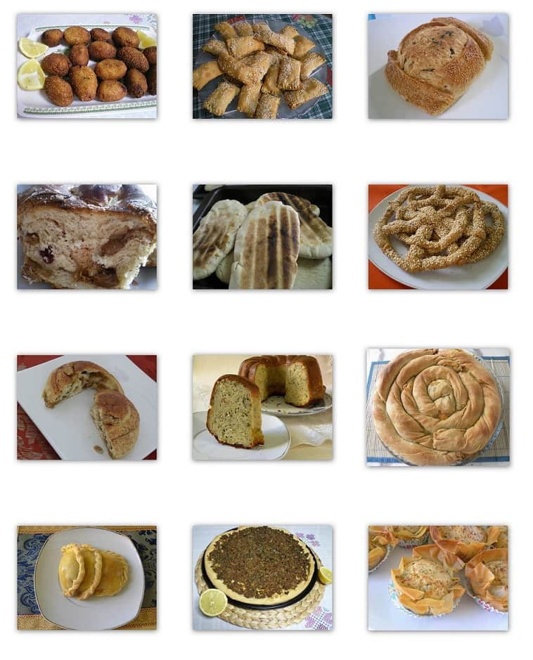 Collage bread, pies, snacks