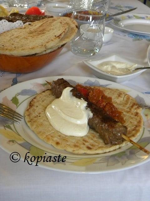 Kebab tomato relish and yiaourtlou sauce