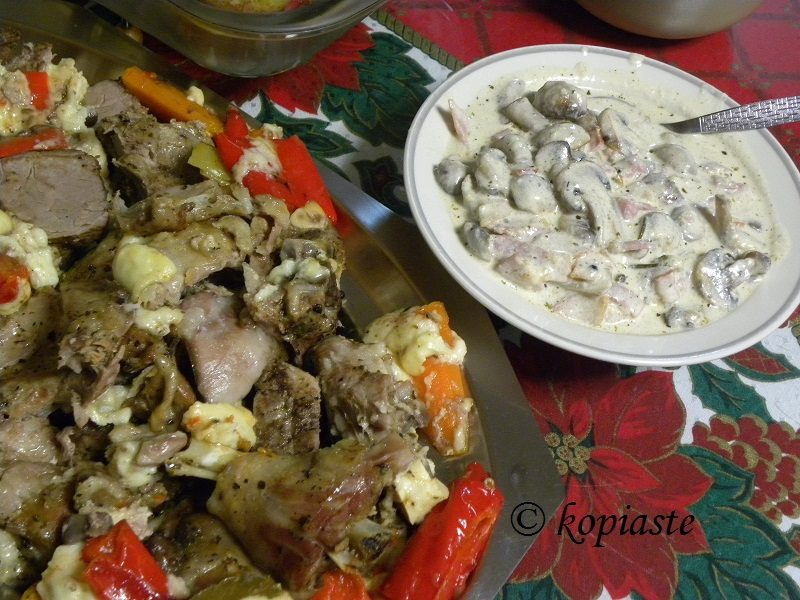 Gkioulpassi and Mushrooms with bacon ala creme
