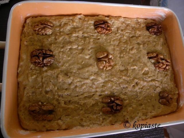 Karydopita before baking