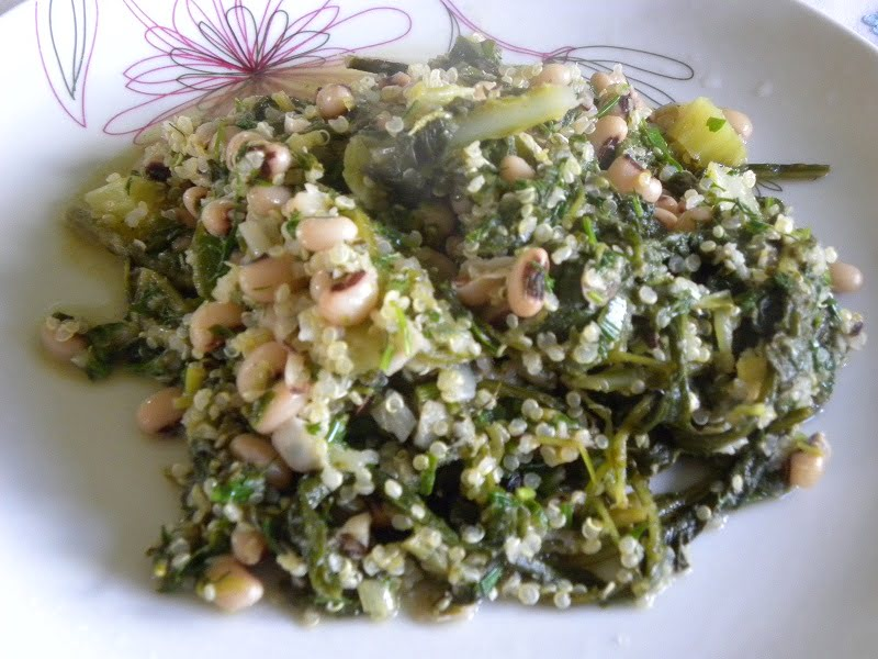 Mavromatika black eyed peas with wild greens image