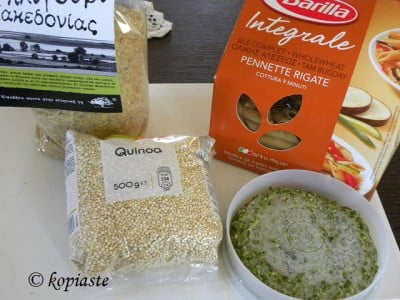 Bulgur pasta and quinoa