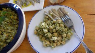 Chickpea Salad with Bulgur Wheat, Feta and Pesto