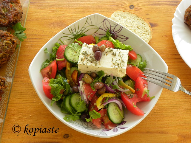 Greek salad with Coriander and buffalo feta