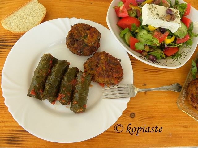 Veggie burgers - dolmades and Greek salad