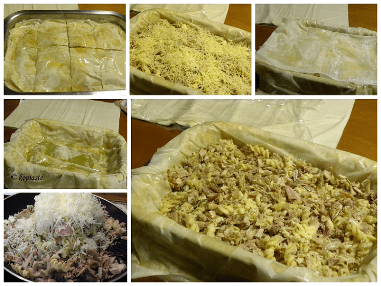 collage carbonara turkey pie