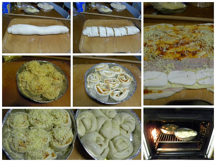 Collage pizza rolls