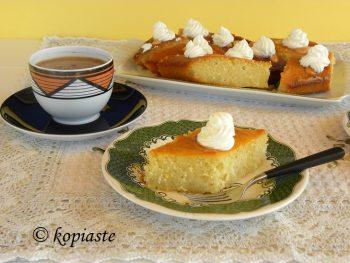 Lemon Revani with Whipped cream