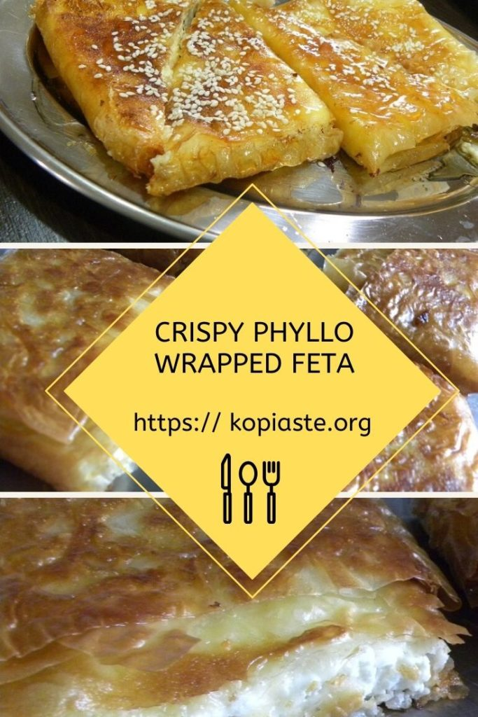 collage crispy feta wrapped in phyllo image