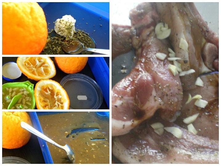 collage marinated pork chops