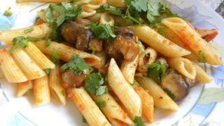 Penne with Mushrooms, Roasted Garlic, Cilantro and Marinara Sauce