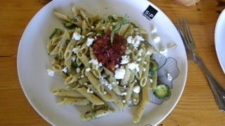 Whole Wheat Penne with Courgettes, Tomato Chutney & Feta
