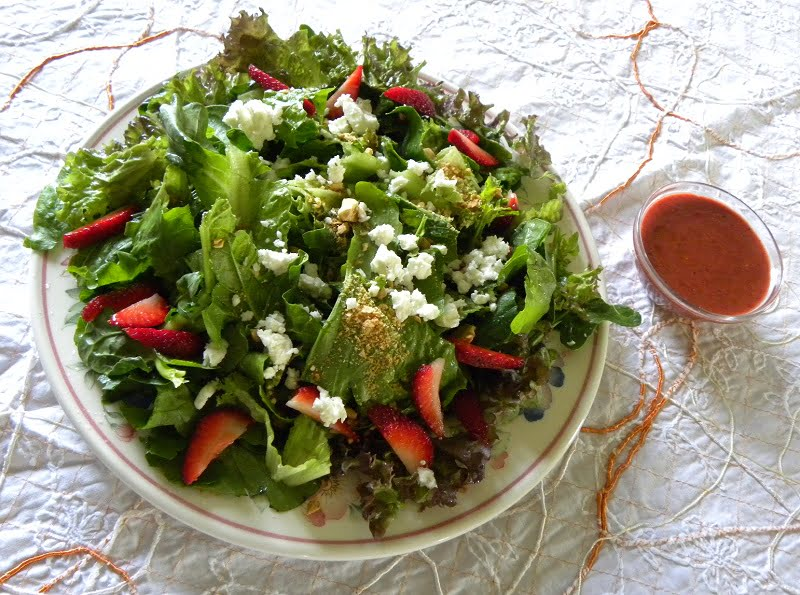 Green Salad with Strawberries and Feta image
