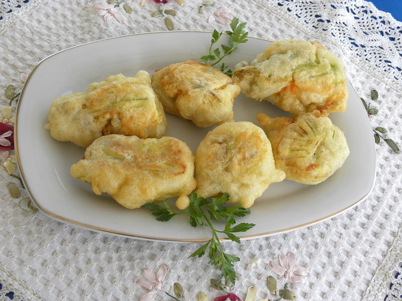 Kolokytholoukoumades (Battered Zucchini Flowers filled with Cheese)