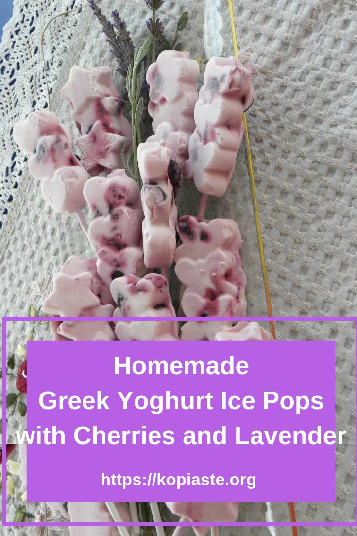 Greek Yoghurt Ice Pops with Cherries and Lavender image