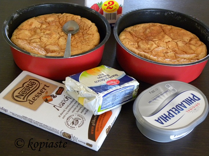 Sponge cake and ingredients