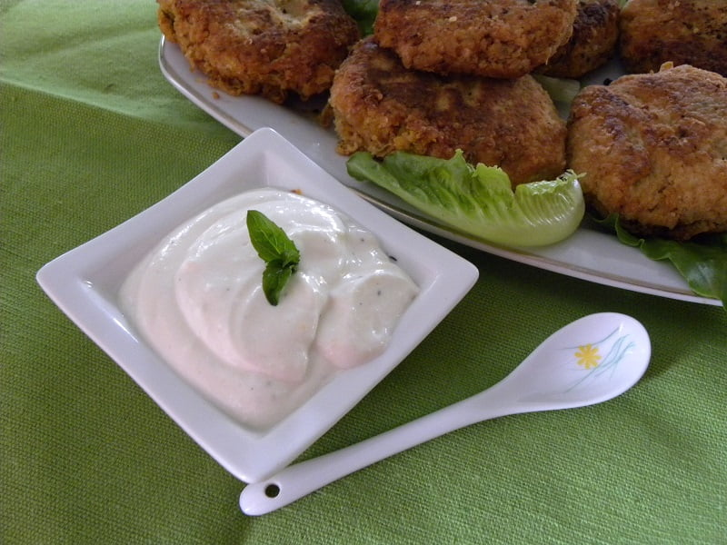 Garlic sauce with burgers image
