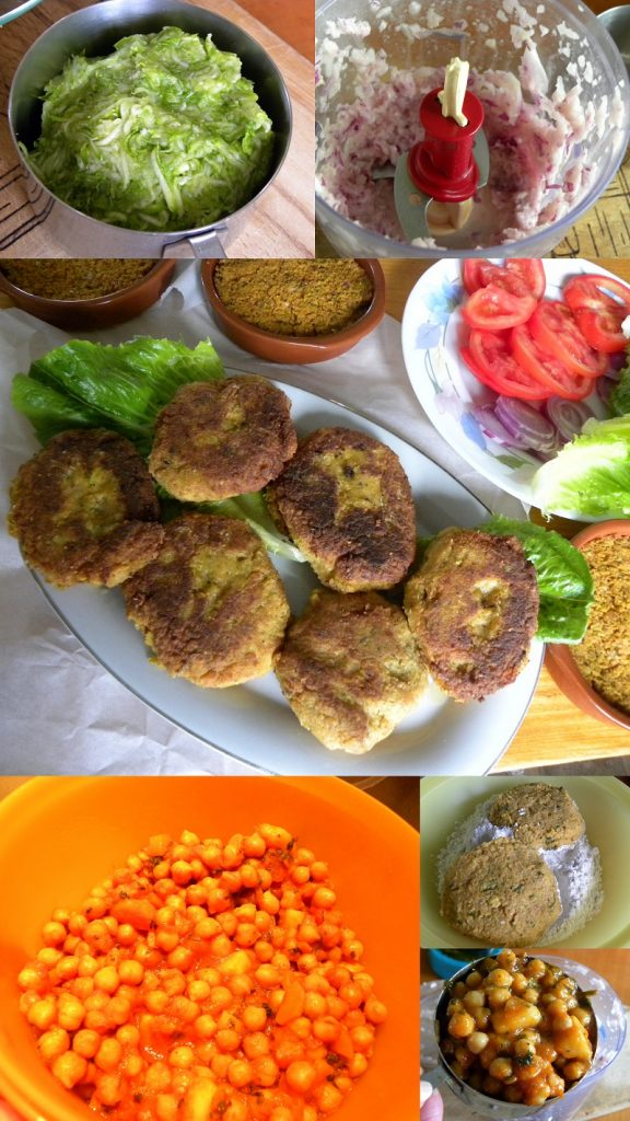 collage Revithokeftedes with bulgur burger with zucchini image