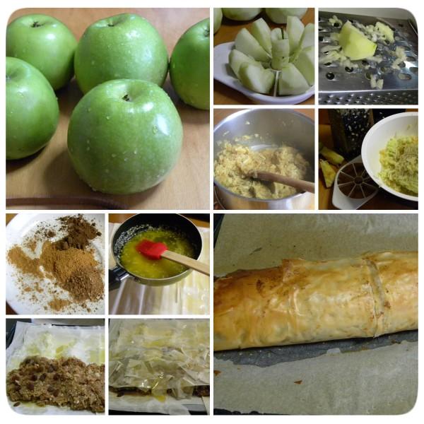 collage apple strudel