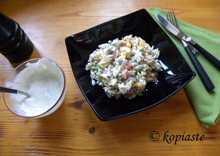 orzo salad with garlic sauce