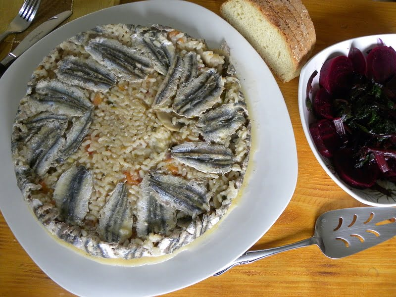 Gavros baked anchovies risotto image